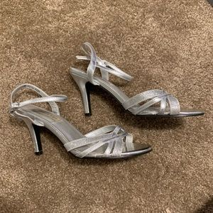 Silver Glittery Low Heel with Ankle Strap